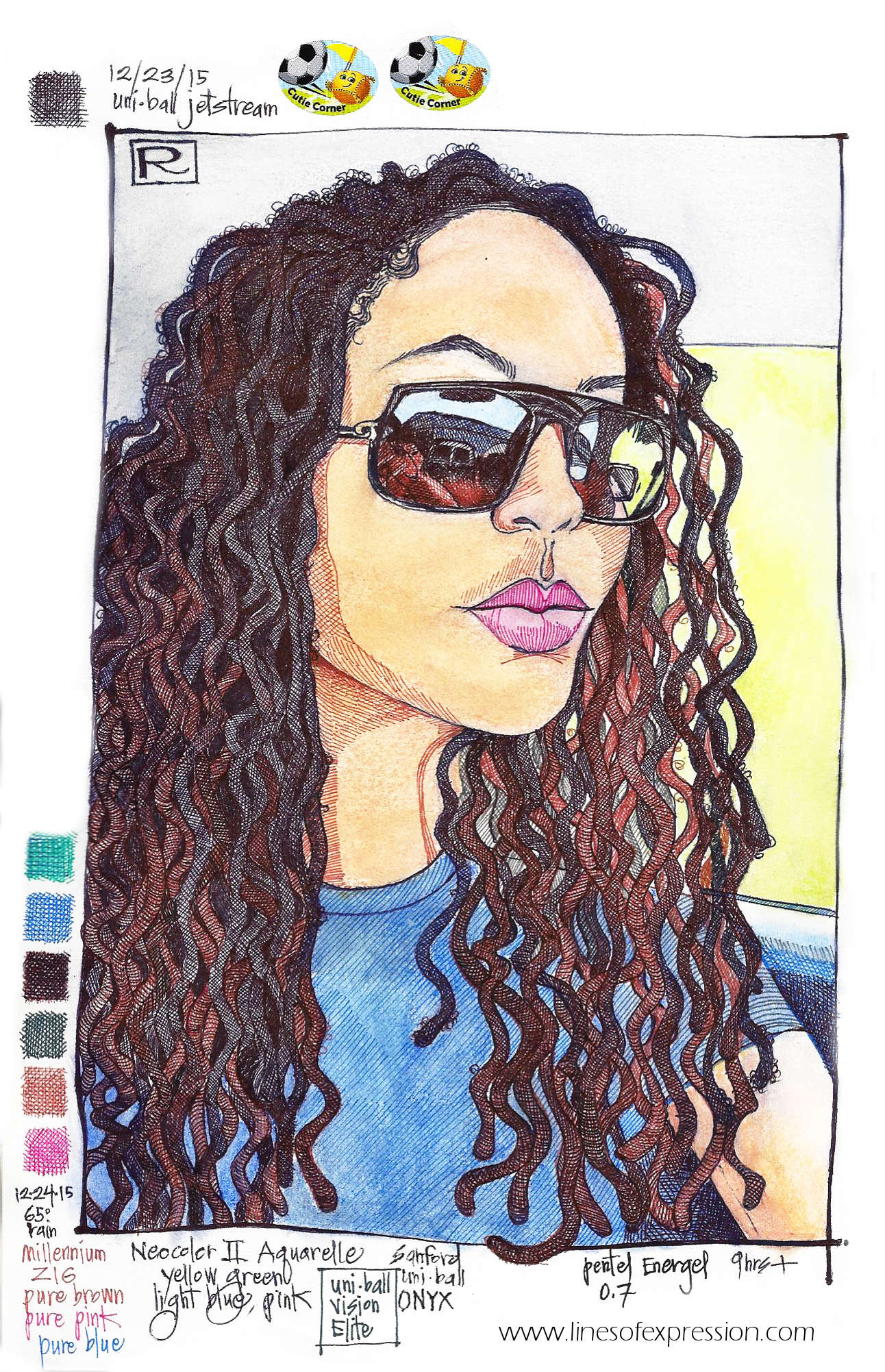 Ink and water soluble crayon sketchbook drawing by Rebecca Payne. Natural hair drawing inspired by a photo of a woman wearing sunglasses and locked hair.
