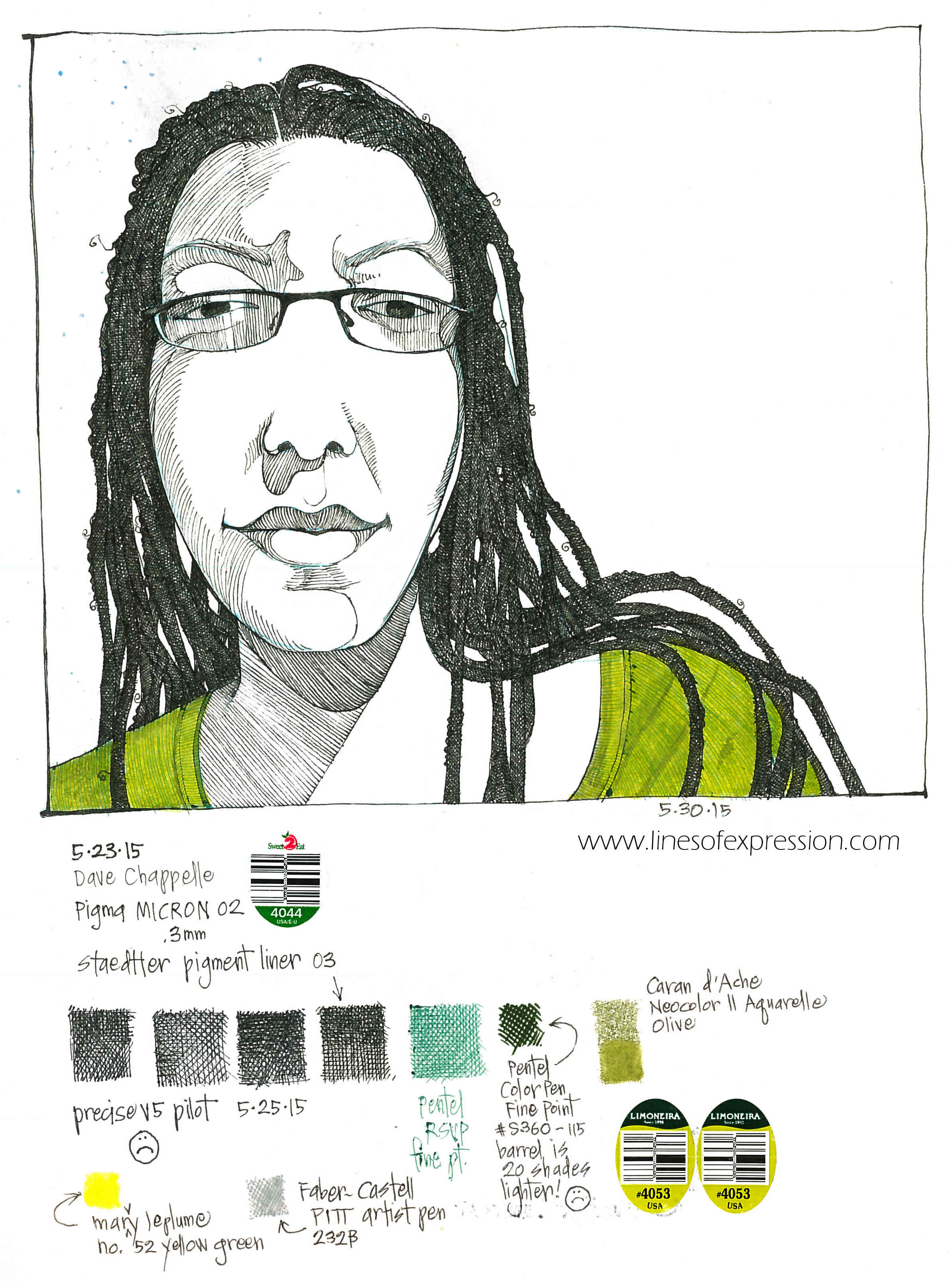 Rebecca Payne. Ink and water soluble crayon self portrait done on 5-30-15.