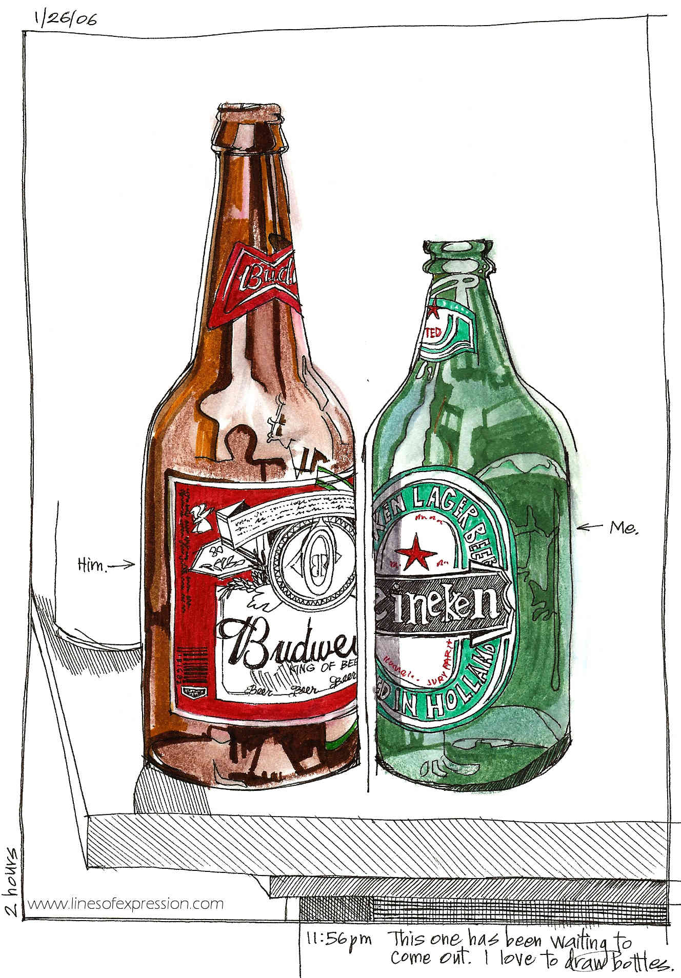 Ink and watercolor still life by Rebecca Payne. A sketchbook drawing of beer bottles inspired by Danny Gregory's book The Creative License.