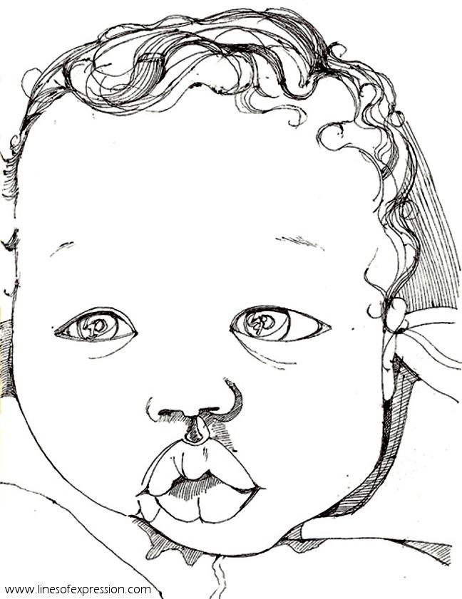 Rebecca Payne. Ballpoint ink portrait.