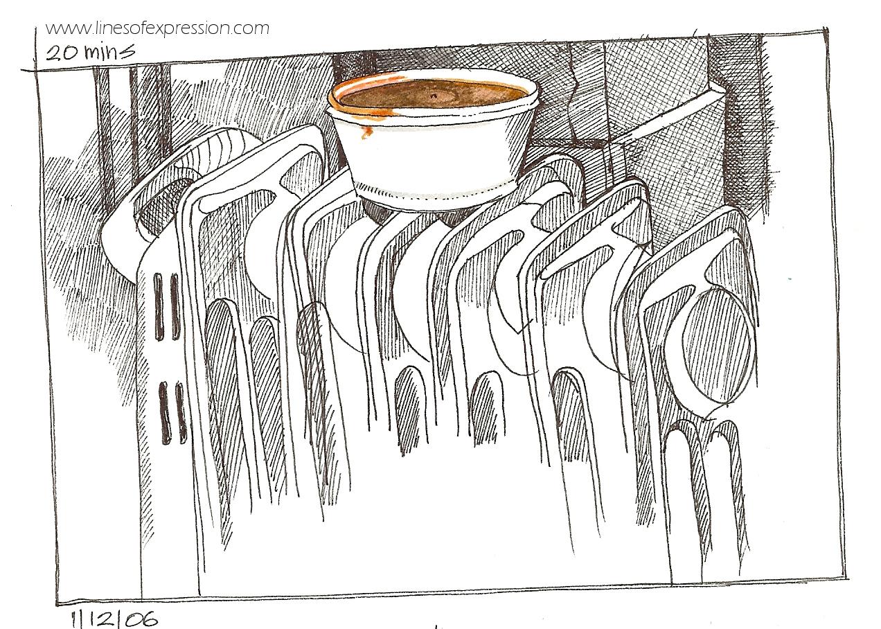 Rebecca Payne. Ink sketchbook drawing of lamb chili.