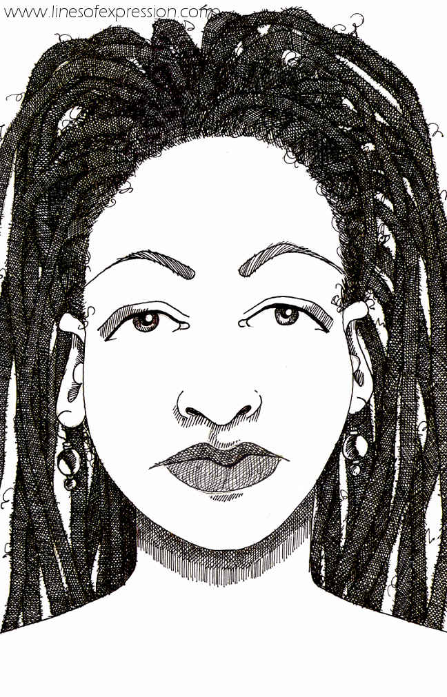 Ink natural hair sketchbook drawing done by Rebecca Payne.  New drawings planned with portraits of women sporting natural hair styles.