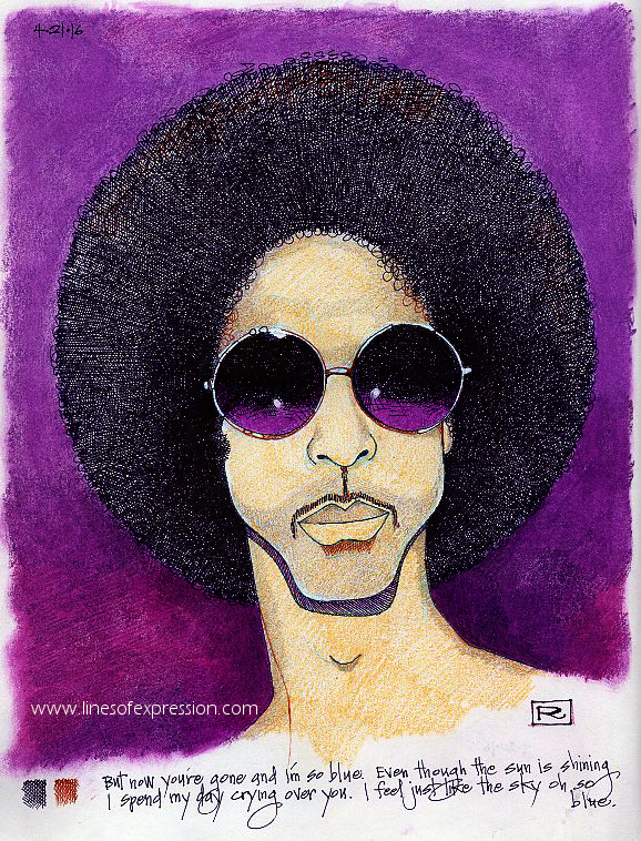 The last Prince concert at the Fox in Atlanta was a treat and inspired the purple drawing done in ink, water soluble crayons and colored pencil. Artwork by Rebecca Payne