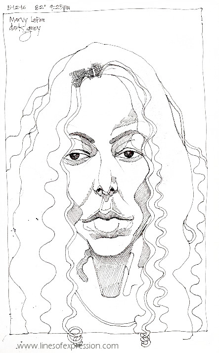 Self portrait preliminary sketch done with a dark grey ink by Rebecca Payne. This drawing took about one hour.